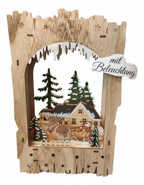 Christmas scene wood laser cut, with LED