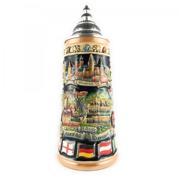 Contiki Europe 1L yellow hand painted beer stein
