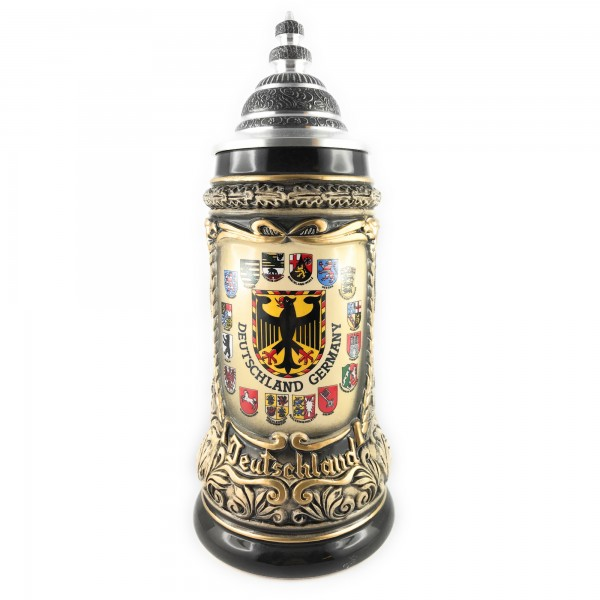 German mug with Citys, yellow crest on front great german authentic beer stein