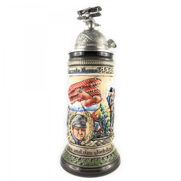 Red Baron collectible beer stein with antik style of painting