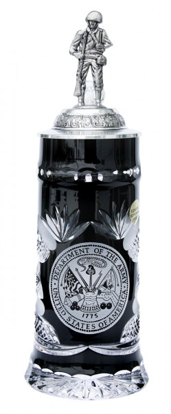 US Army crystal black beer stein