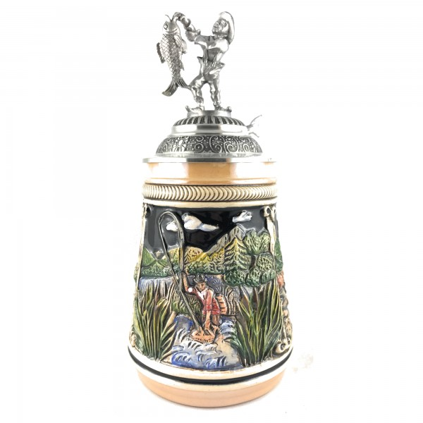 Fisherman stein, with pewter fishermen in yellow