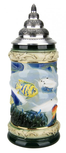 Dolphin beer stein with dolphin handle