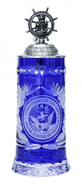 US Navy crystal blue beer stein
