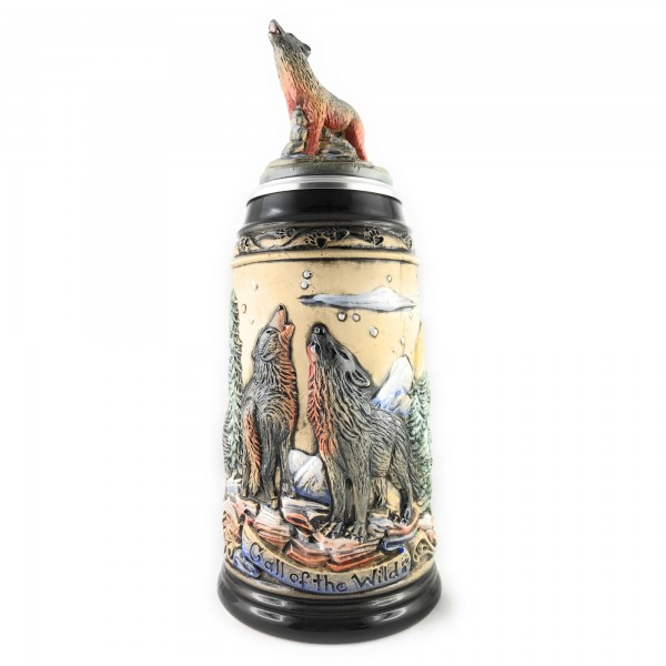 Wolf stein with moon scene, in antik painting