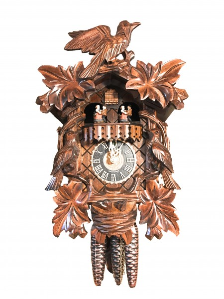 carved 3 bird nest with music 1 day cuckoo clock