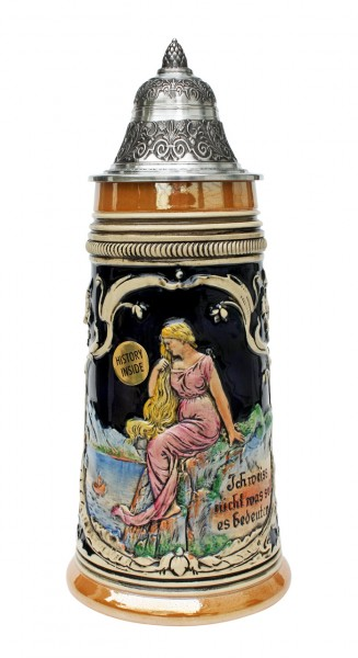 Loreley beer stein yellow painted