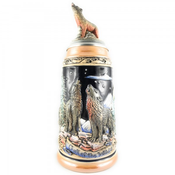 Wolf stein with moon scene, in yellow painting