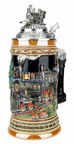 Train beer stein with pewter figure