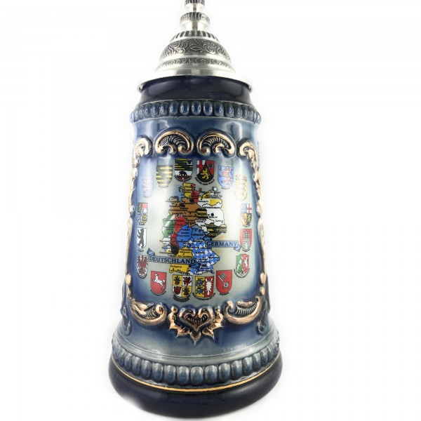 German Map with 16 state crests 0,5 liter beerstein
