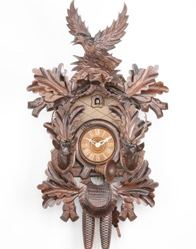 Cuckoo Clock Black forest Eagle with two Deerheads