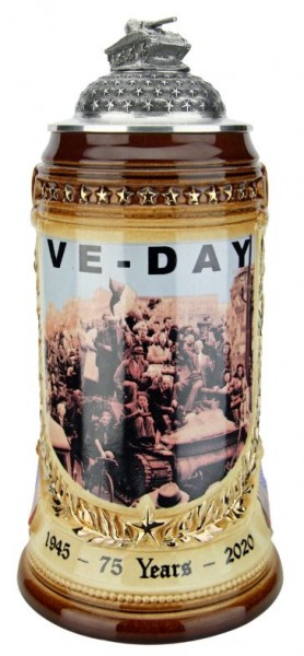 75 Years VE Day German Premium Collector Beer stein Tank Lid