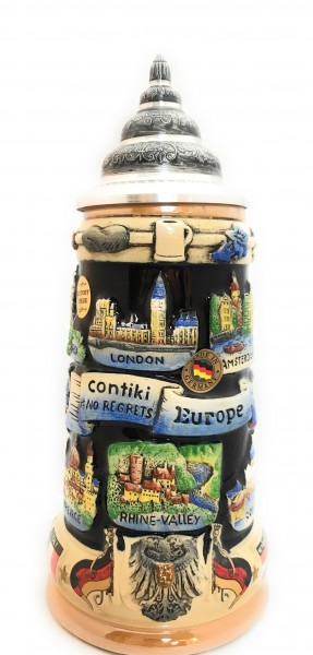 Contiki Europe 750ml yellow painted german beer stein