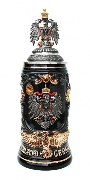 Germany Deutschland Beer Stein with Pewter Eagle