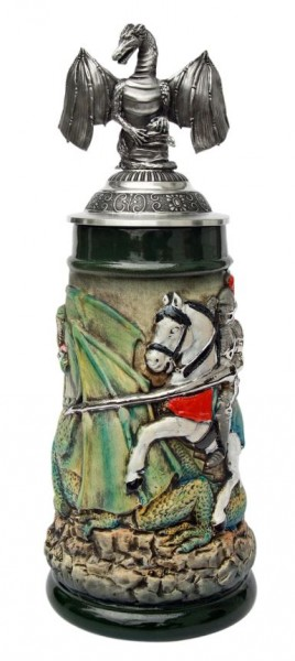 Dragon Slayer Knight Beer Stein with pewter Dragon