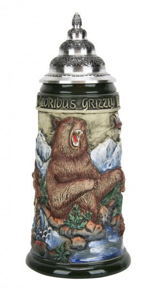 Grizzly bear beer stein antik painted