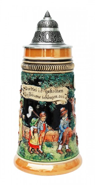May Celebration beer stein yellow painted