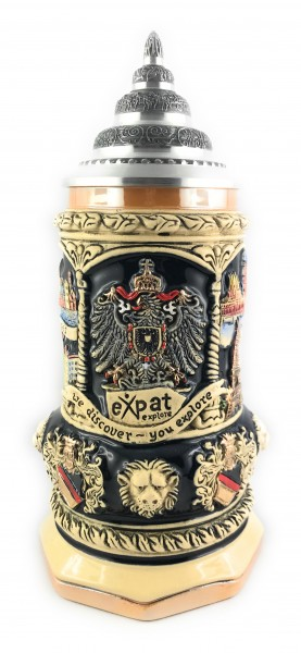 Expat explore 400ml yellow painted beer stein
