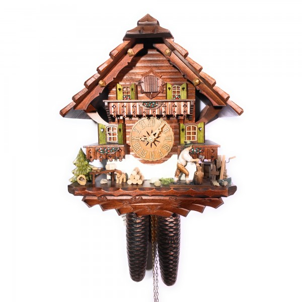 Wood chopper 8 day cuckoo clock