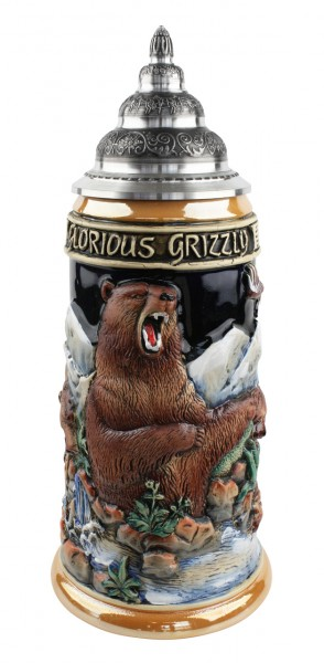 Grizzly bear beer stein yellow painted