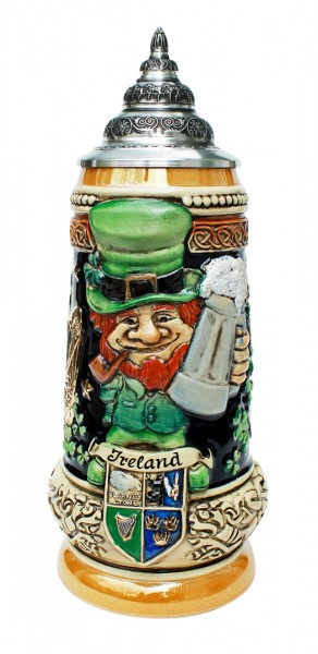 Ireland beer stein yellow painted