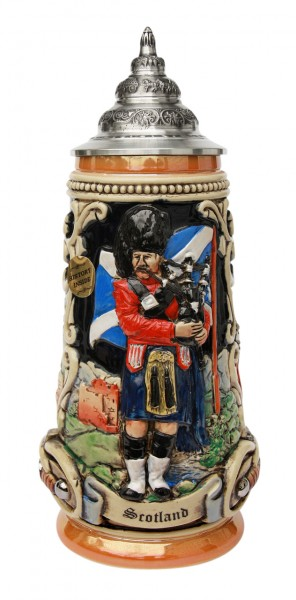 Scotland beer stein yellow painted