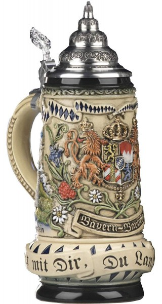 Bavaria Beer stein with Statecrest, Munich and Neuschwanstein 0,5Liter