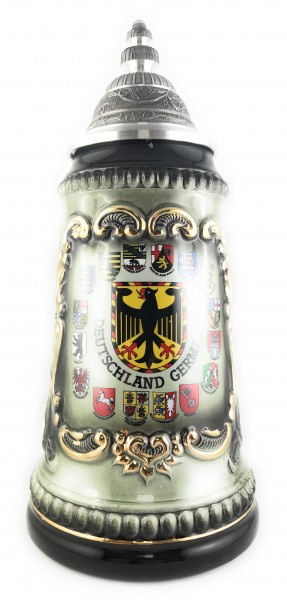 German Eagle Yellow with 16 state crests 0,5 liter beer stein