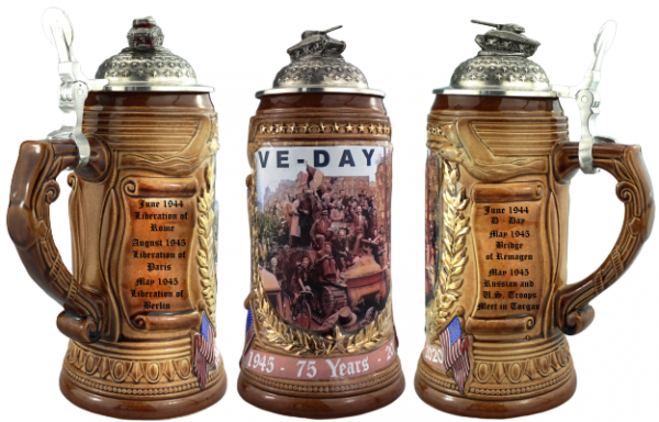 75 Years VE- Day Stein with Sherman pewter Tank