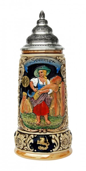Summer beer stein yellow painted