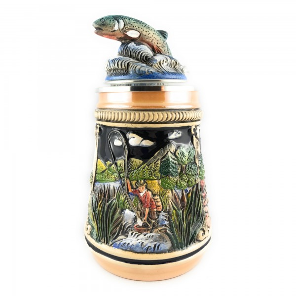 Fisherman stein, with 3 different scenes in yellow