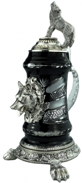 Lord of Crystal Wolf Premium Collector Beer stein Wolf lid & Paw feet