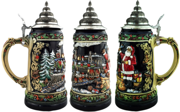NEW Chrismas Train Santa Beer stein Made in Germany