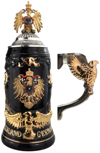 Germany Gold Beer Stein with Pewter Eagle