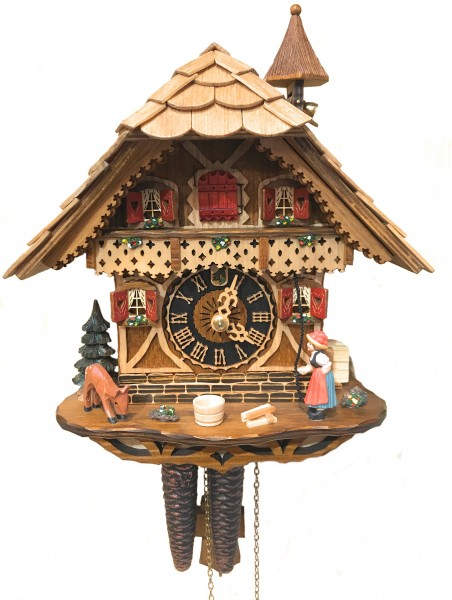 Cuckoo Clock Black forest lady mechanic 1 day