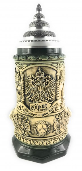 Expat explore 400ml antik painted beer stein