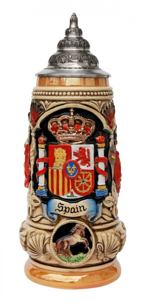 Spain beer stein yellow painted