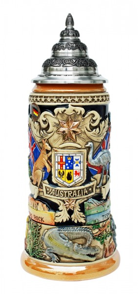 Australia beer stein yellow