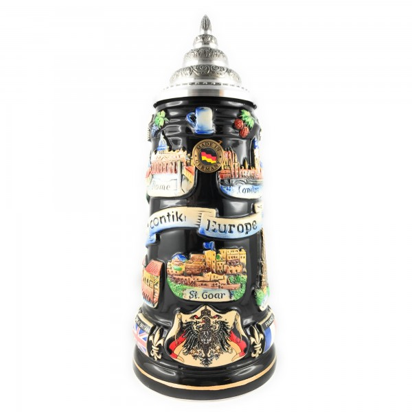 Contiki Europe 400ml black painted german beer stein