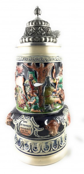 Viking scene beer stein blue
