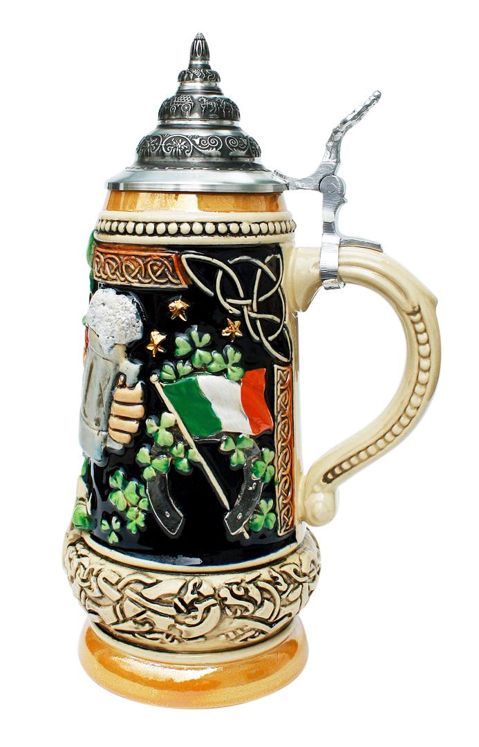 Ireland beer stein yellow painted | Country beer steins ...  Irish Beer Mug