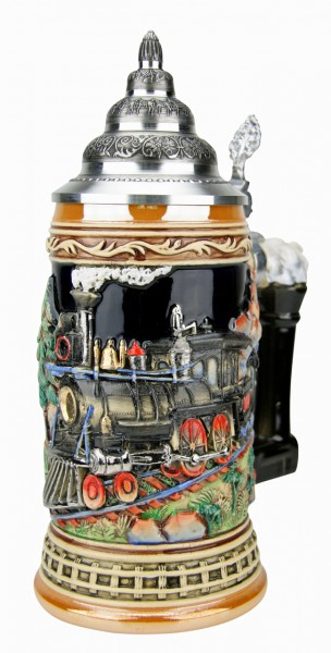Train beer stein yellow painted
