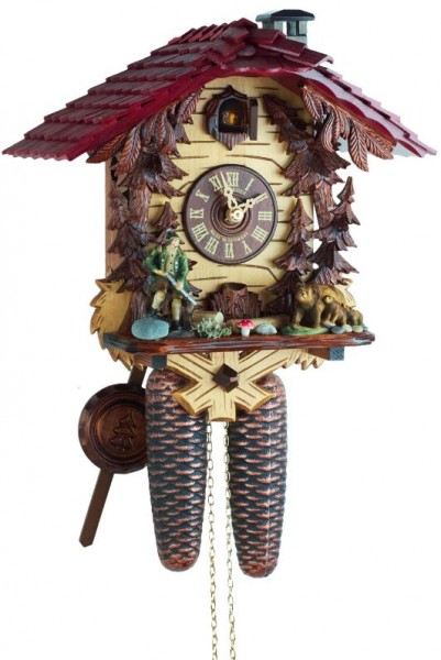 Hunter with bears 8 Day Clock 8T 180 9