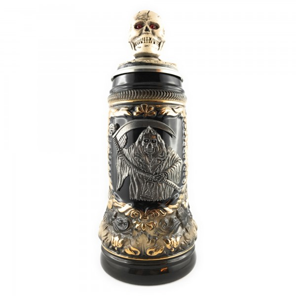 Skull with scythe men & skull head, great fantasy beer stein