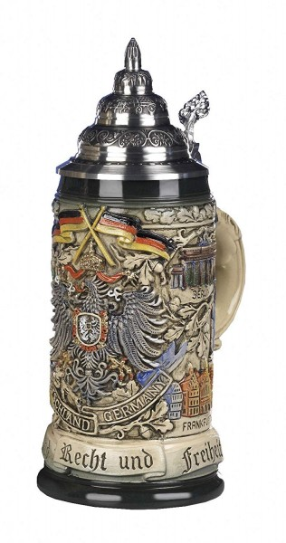 German code of arms beer stein Antik painted 0,5Liter