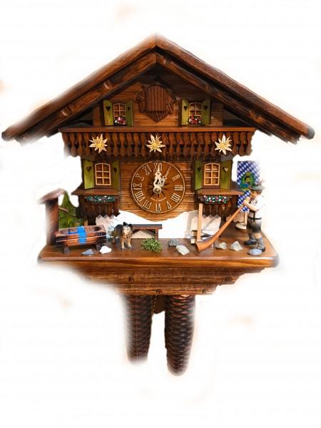 Bavaria house alphorn 8 day cuckoo clock